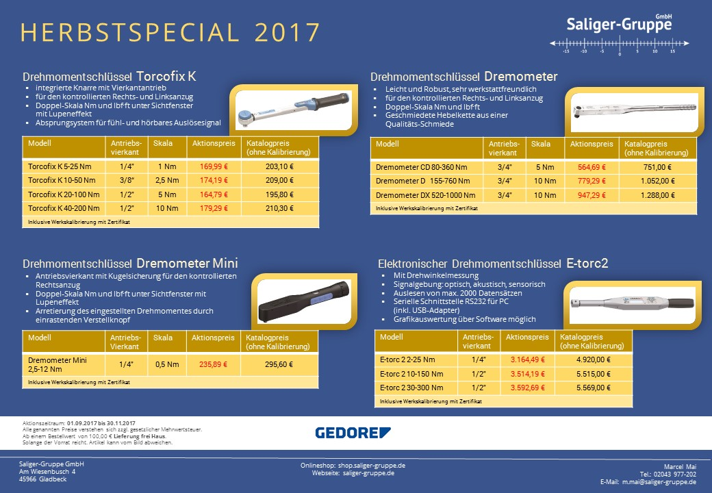 Angebotsflyer - Herbstaktion 2017 - Gedore Drehmomentschlüssel im Angebot